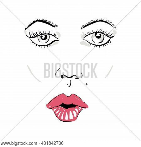 Vector Illustration With A Woman S Face With A Mole And Pink Lips.