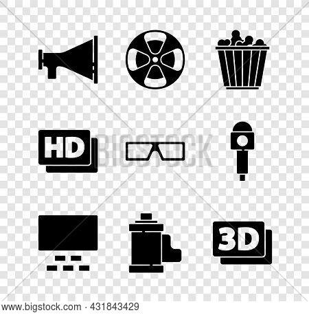 Set Megaphone, Film Reel, Popcorn In Box, Cinema Auditorium With Seats, Camera Film Roll Cartridge,