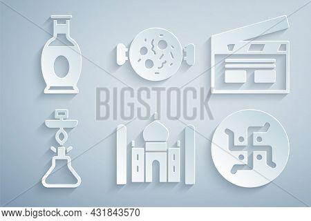 Set Taj Mahal, Bollywood Indian Cinema, Hookah, Hindu Swastika, Chicken Tikka Masala And Indian Vase