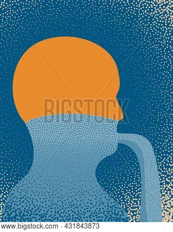 An Illustration Of A Person Unburdening Themselves By Talking Illustrated As A Spill. Vector Illustr