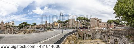 Panoramic View At Via Dei Fori Imperati With The Antique Rome With Forum Romanum And The Archaelogic