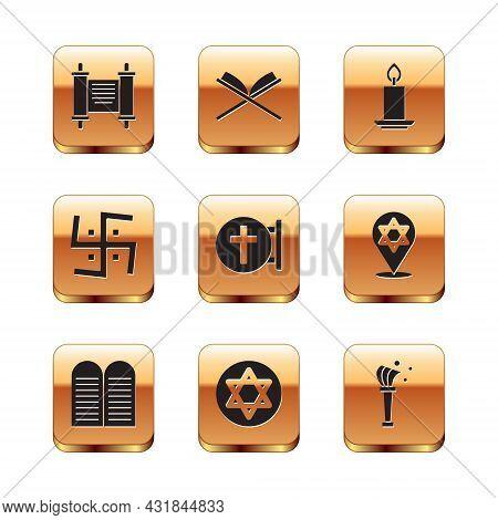 Set Decree, Paper, Parchment, Scroll, The Commandments, Star Of David, Christian Cross, Hindu Swasti