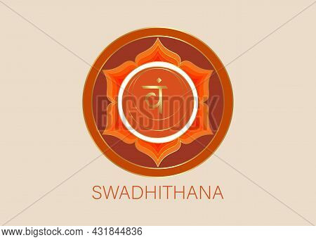 Second Swadhisthana Chakra With The Hindu Sanskrit Seed Mantra Vam. Orange Is A Flat Design Style Sy