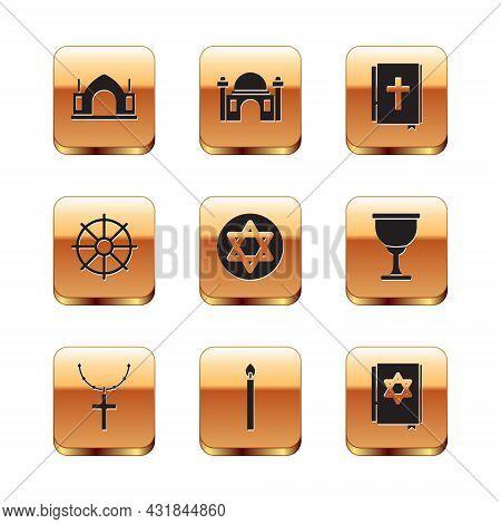 Set Hindu Spiritual Temple, Christian Cross On Chain, Burning Candle, Star Of David, Dharma Wheel, H