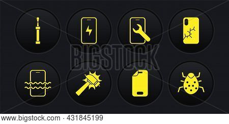 Set Waterproof Phone, Mobile With Broken Screen, Hammer, Glass Protector, Service, Charging Battery,