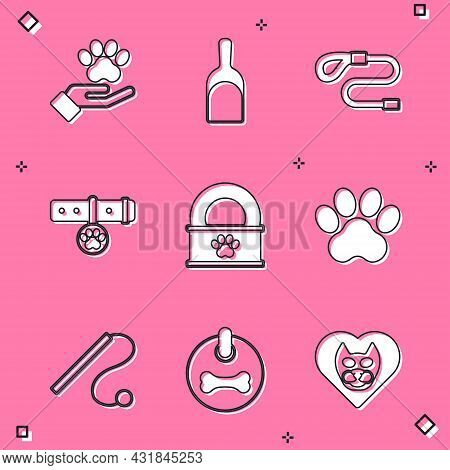 Set Hands With Animals Footprint, Dustpan, Retractable Cord Leash, Collar Name Tag, Canned Food, Paw