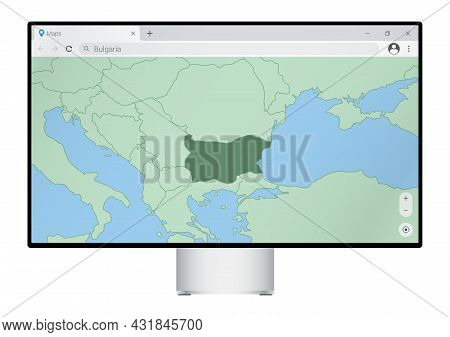 Computer Monitor With Map Of Bulgaria In Browser, Search For The Country Of Bulgaria On The Web Mapp