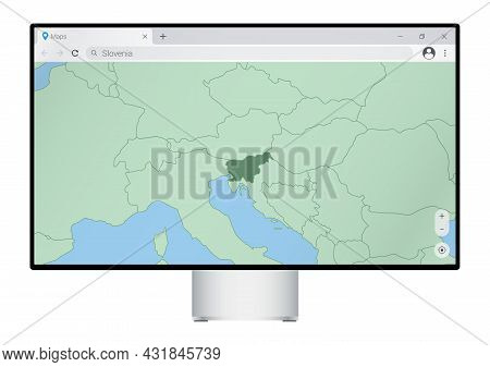 Computer Monitor With Map Of Slovenia In Browser, Search For The Country Of Slovenia On The Web Mapp