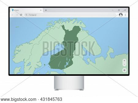 Computer Monitor With Map Of Finland In Browser, Search For The Country Of Finland On The Web Mappin