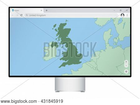 Computer Monitor With Map Of United Kingdom In Browser, Search For The Country Of United Kingdom On