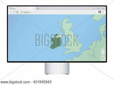 Computer Monitor With Map Of Ireland In Browser, Search For The Country Of Ireland On The Web Mappin