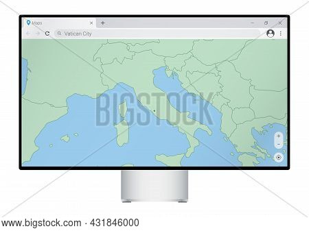 Computer Monitor With Map Of Vatican City In Browser, Search For The Country Of Vatican City On The