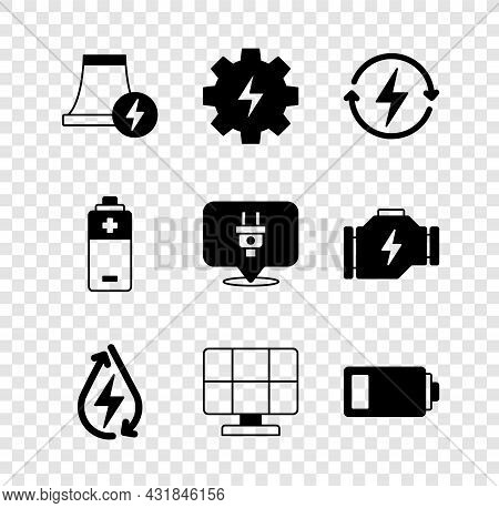 Set Nuclear Power Plant, Gear And Lightning, Recharging, Water Energy, Solar Panel, Battery, And Ele
