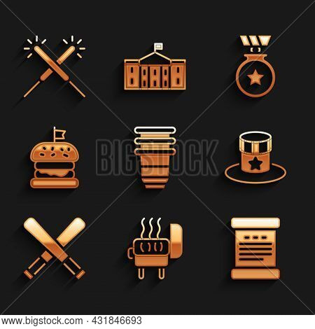 Set Paper Glass, Barbecue Grill, Declaration Of Independence, Patriotic American Top Hat, Crossed Ba
