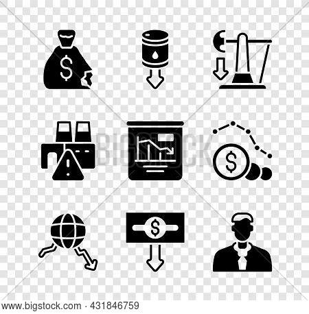 Set Money Bag, Drop In Crude Oil Price, Global Economic Crisis, Dollar Rate Decrease, Worker, Shutdo