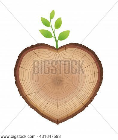 Tree Slice, Heart Shaped, With Young Sprout Growing Out Of It - Wood Trunk With Green Sprig - Symbol