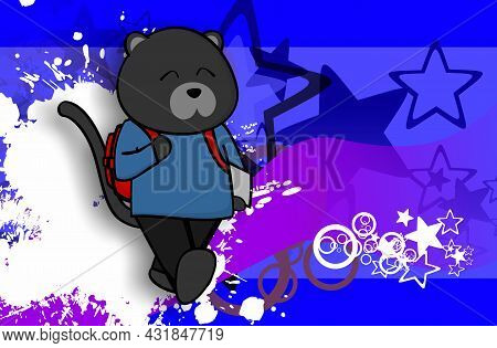 Cute Panther Kid Character Cartoon Back To School Background Illustration