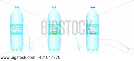 Fluid Dynamics - Three Different Water Bottles With Low, Medium And High Water Pressure - Weak, Medi