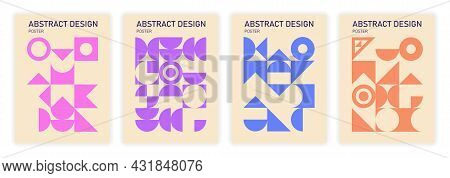 Bauhaus Geometric Pattern Background Set On Beige Background. Template Abstract Circle, Triangle And