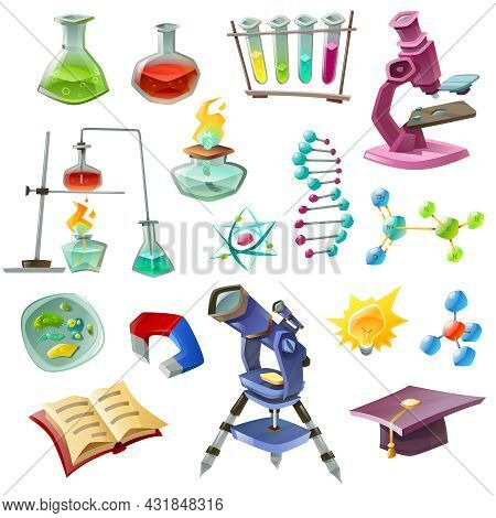 Science Decorative Icons Set With Chemical Experiments Dna Microscope Telescope Biology Magnet Burne