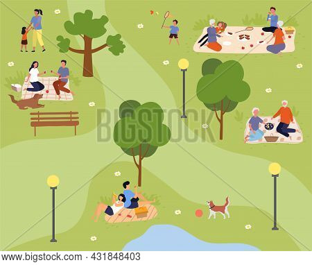 Cute Groups Of People Are Enjoing Spending Time In Summer City Park Together. Concept Of Summer Park