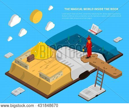Magical World Inside Book Isometry With Treasures And Sea At Pages On Blue Background Vector Illustr