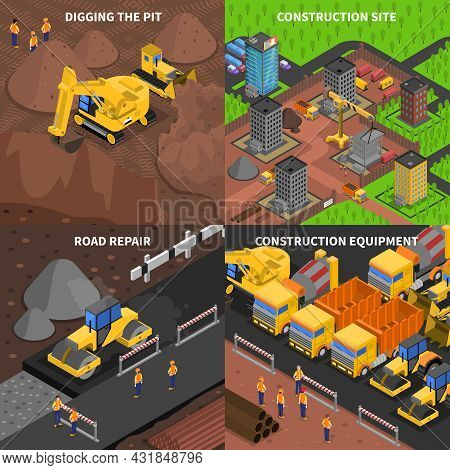 General Construction Concept  Isometry With Scenes Of Digging Equipment Site And Road Repair Isolate
