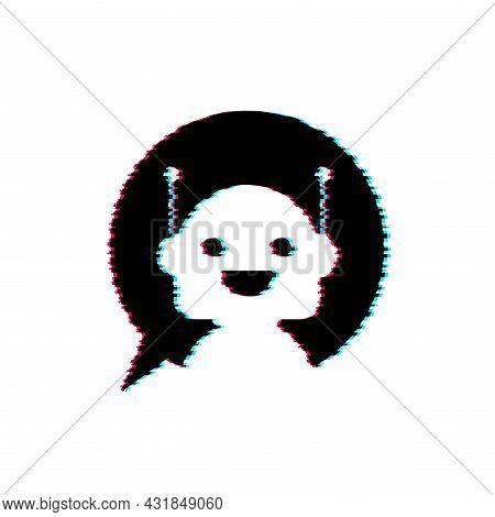 Robot Glitch Icon. Bot Sign Design. Chatbot Symbol Concept. Voice Support Service Bot. Online Suppor