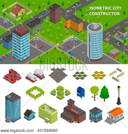City Constructor Isometric Banners With Top View Town Composition And Elements Of Urban Infrastructu