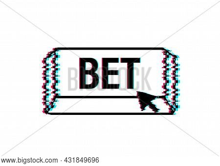 Apply Now. Glitch Icon. Arrow, Cursor Icon. Hand Click. Online Betting Vector Stock Illustration.