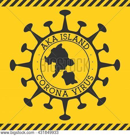 Corona Virus In Aka Island Sign. Round Badge With Shape Of Virus And Aka Island Map. Yellow Island E