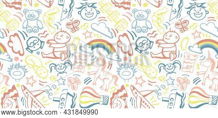A Seamless Pattern With Children's Doodles Drawn By Hand In Delicate Pastel Colors. Children, Toddle
