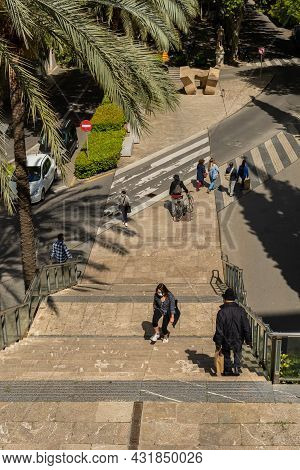 Palma De Mallorca, Spain; April 23 2021: Aerial View Of The Staircase Leading To The Plaza Mayor Of