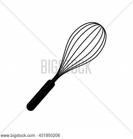 Kitchen Whisk Vector Icon. Hand Drawn Sketch Illustration Isolated On White Background. Cook Flour M
