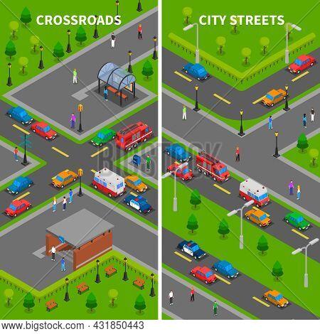 Street Traffic Isometric Vertical Banners Set With Crossroads Underpass Bus Stop Pedestrians Trucks