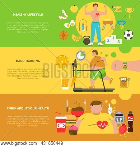 Obesity Horizontal Banners With Healthy  Lifestyle Elements Hard Training For Weight Loss And Unheal