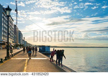 THESSALONIKI, GREECE - November 30, 2019: Seaside street scene in Thessaloniki, Greece
