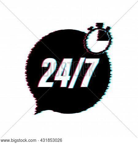 24-7 Service Concept. 24-7 Open. Glitch Icon. Support Service Icon. Vector Stock Illustration.