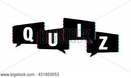 Quiz Logo With Speech Bubble Symbols, Concept Of Questionnaire Show Sing, Quiz Button, Question Comp