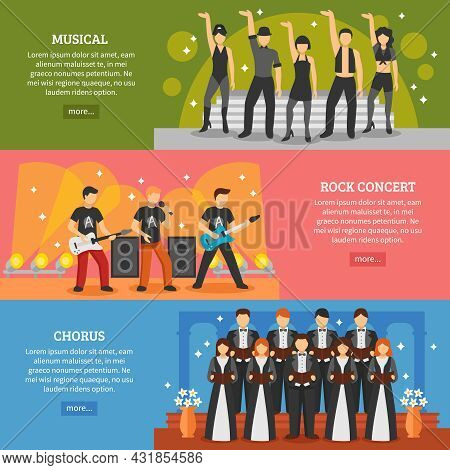 Theatre Horizontal Banners Set Of Popular Music Performance With Musical Chorus Rock Actors Flat Vec