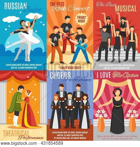 Flat Theatre Posters Set Of Russian Ballet Rock And Choral Concert Theatrical And Opera Performance