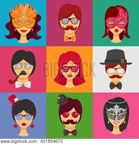 Flat Collection Of Decorative Icons With People Faces In Carnival Masks And Masquerade Attributes  F