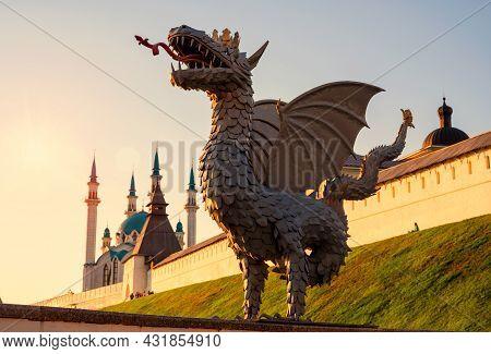 Kazan Kremlin At Sunset In Summer, Tatarstan, Russia. It Is Top Tourist Attraction Of Kazan And Unes