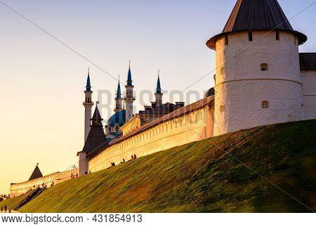 Kazan Kremlin At Sunset, Tatarstan, Russia. It Is Tourist Attraction Of Kazan. Sunny View Of White F