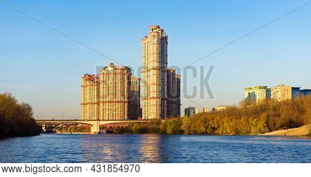 Moscow Buildings In Sunset Lights, Russia. Residential Complex At Moskva River In Autumn. Panorama O