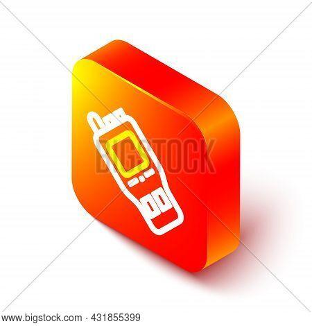 Isometric Line Walkie Talkie Icon Isolated On White Background. Portable Radio Transmitter Icon. Rad