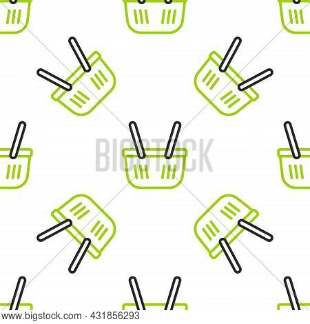 Line Shopping Basket Icon Isolated Seamless Pattern On White Background. Online Buying Concept. Deli