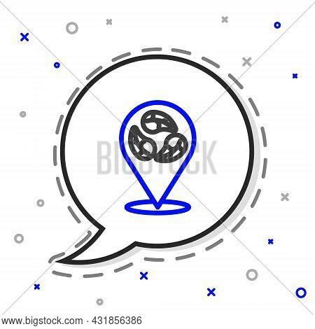 Line Vegan Food Diet Icon Isolated On White Background. Organic, Bio, Eco Symbol. Vegan, No Meat, La