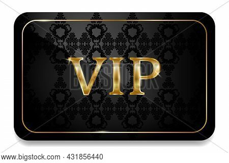 Vip Card In Black With Gold And Vintage Pattern. Premium Vip Card. Modern Creative Template. Sale Ba