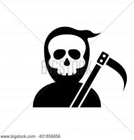 Grim Reaper Halloween Character Silhouette Icon. Scary Human Skeleton In Robe With Scythe Glyph Pict